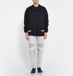 Neil Barrett Slim-Fit Bleached Stretch-Denim Biker Jeans