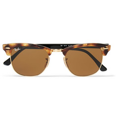 Ray-Ban Clubmaster Tortoiseshell Acetate and Metal Sunglasses