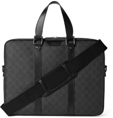 gucci male gucci leathertrimmed monogrammed coated canvas briefcase black