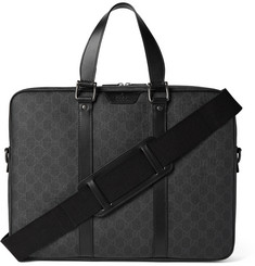 Gucci Leather-Trimmed Monogrammed Coated Canvas Briefcase