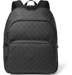 Gucci Leather-Trimmed Coated Canvas Backpack