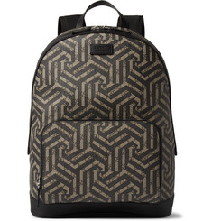 Gucci Leather-Trimmed Geometric-Print Coated Canvas Backpack