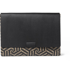 Gucci Geometric-Print Textured-Leather Pouch