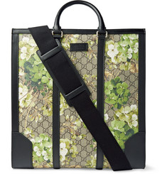 Gucci Leather-Trimmed Printed Coated Canvas Tote