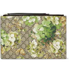 Gucci Leather-Trimmed Printed Coated Canvas Pouch