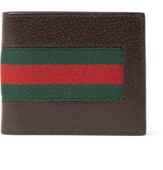 Gucci Stripe-Trimmed Leather Billfold Wallet