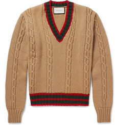 Gucci - Slim-Fit Striped Cable-Knit Wool Sweater