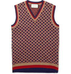 Gucci Jacquard-Knit Camel, Wool and Silk-Blend Sweater Vest