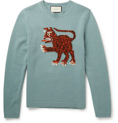 Gucci Slim-Fit Tiger-Intarsia Wool Sweater