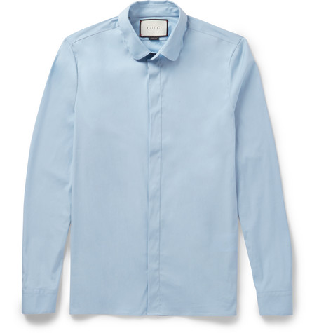 gucci male 201959 gucci slimfit pennycollar cottonblend poplin shirt light blue