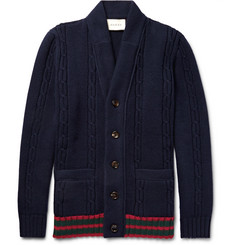 Gucci Striped Cable-Knit Wool Cardigan