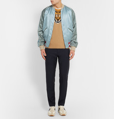 Gucci Reversible Embroidered Satin Bomber Jacket