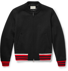 Gucci Stripe-Trimmed Wool-Blend Bomber Jacket