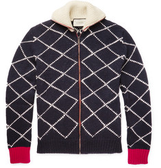 Gucci Geometric-Intarsia Wool Zip-Up Cardigan