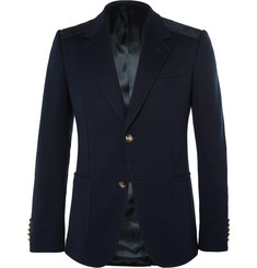 Gucci Navy Slim-Fit Suede-Trimmed Stretch-Cotton Blazer