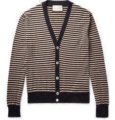 Gucci Striped Cotton and Cashmere-Blend Cardigan