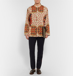 Gucci Reversible Grandad-Collar Printed Cotton Shirt