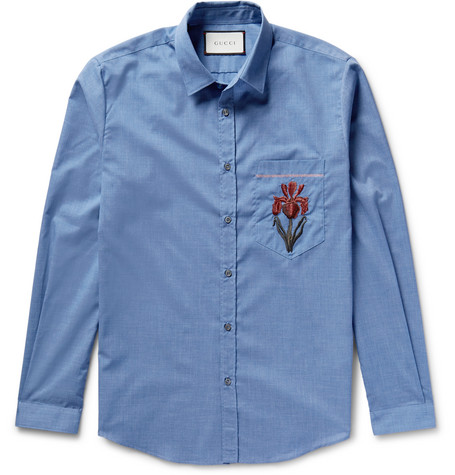 Gucci Slim-fit Embroidered Muslin Shirt In Blue