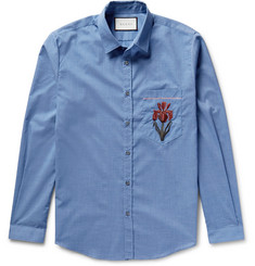Gucci - Slim-Fit Embroidered Muslin Shirt