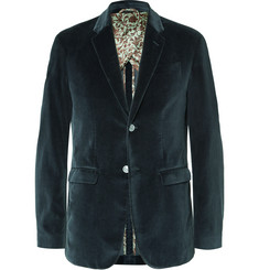 Gucci - Petrol Slim-Fit Cotton-Velvet Blazer