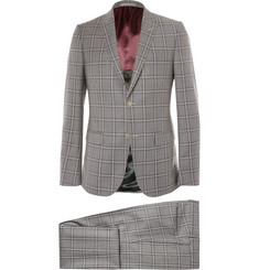Gucci Grey Monaco Slim-Fit Checked Wool Suit