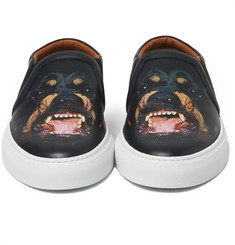Givenchy - Rottweiler-Print Leather Slip-On Sneakers
