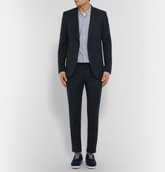 Paul Smith - Midnight-Blue Slim-Fit Slub Wool and Cotton-Blend Suit Jacket