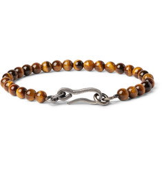 Bottega Veneta Burnished-Silver and Tiger's Eye Bead Bracelet