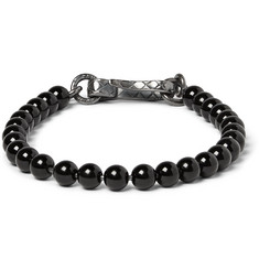 Bottega Veneta Oxidised Silver and Onyx Beaded Bracelet