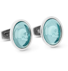 Alexander McQueen Skull Cameo Silver-Tone and Resin Cufflinks