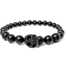 Alexander McQueen Resin and Onyx Beaded Skull Bracelet