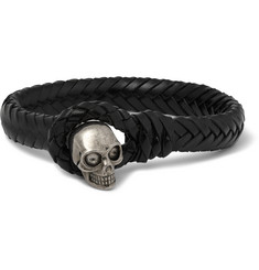 Alexander McQueen Woven Leather and Metal Skull Bracelet