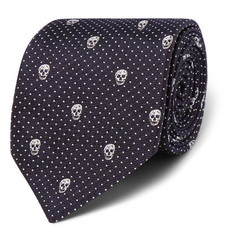 Alexander McQueen Skull and Polka-Dot Silk Tie