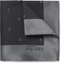 Alexander McQueen Skull-Patterned Silk-Jacquard Pocket Square