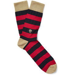 Alexander McQueen Skull and Stripes Cotton-Blend Socks
