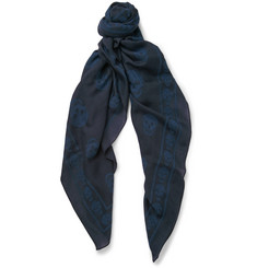 Alexander McQueen Skull-Devoré Wool and Cotton-Blend Scarf