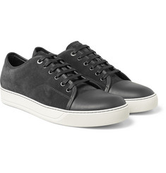 Lanvin Cap-Toe Leather and Suede Sneakers