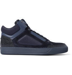 Lanvin Leather and Mesh High-Top Sneakers