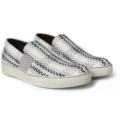Lanvin - Woven Leather and Grosgrain Slip-On Sneakers