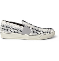 Lanvin Woven Leather and Grosgrain Slip-On Sneakers