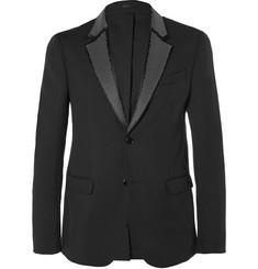 Alexander McQueen Black Slim-Fit Studded Virgin Wool and Mohair-Blend Tuxedo Jacket