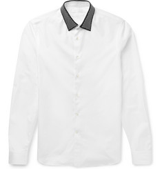 Alexander McQueen White Slim-Fit Studded-Collar Cotton-Poplin Shirt
