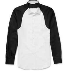 Alexander McQueen Slim-Fit Two-Tone Cotton-Piqué Shirt