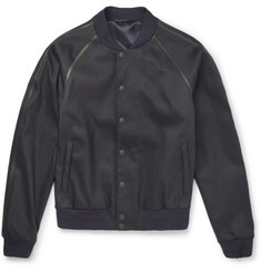 Alexander McQueen - Leather-Trimmed Stretch-Twill Bomber Jacket