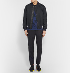 Alexander McQueen Leather-Trimmed Stretch-Twill Bomber Jacket