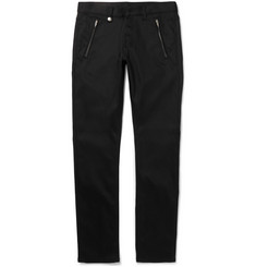 Alexander McQueen - Slim-Fit Leather-Trimmed Cotton-Drill Jeans
