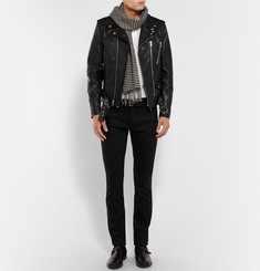 Alexander McQueen Slim-Fit Leather-Trimmed Cotton-Drill Jeans