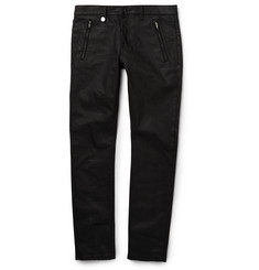 Alexander McQueen Slim-Fit Studded Waxed-Denim Jeans