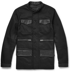 Alexander McQueen Slim-Fit Leather-Trimmed Stretch-Twill Jacket