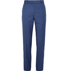 Alexander McQueen Cobalt Slim-Fit Wool and Mohair-Blend Trousers